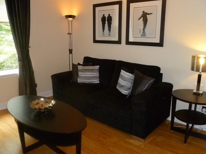 living room area of the sherbrooke 1 bed